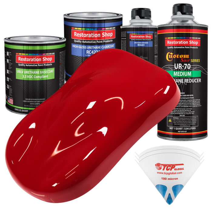 Viper Red - LOW VOC Urethane Basecoat with Clearcoat Auto Paint - Complete Medium Quart Paint Kit - Professional High Gloss Automotive Coating