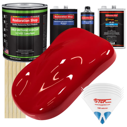 Viper Red - LOW VOC Urethane Basecoat with Clearcoat Auto Paint - Complete Slow Gallon Paint Kit - Professional High Gloss Automotive Coating