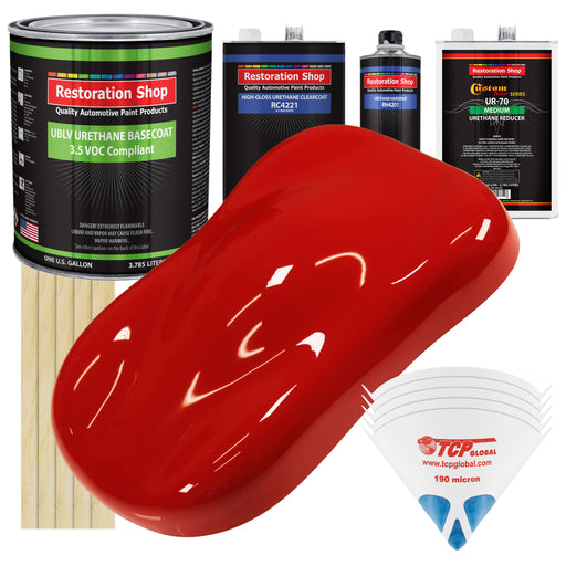 Pro Street Red - LOW VOC Urethane Basecoat with Clearcoat Auto Paint - Complete Medium Gallon Paint Kit - Professional High Gloss Automotive Coating