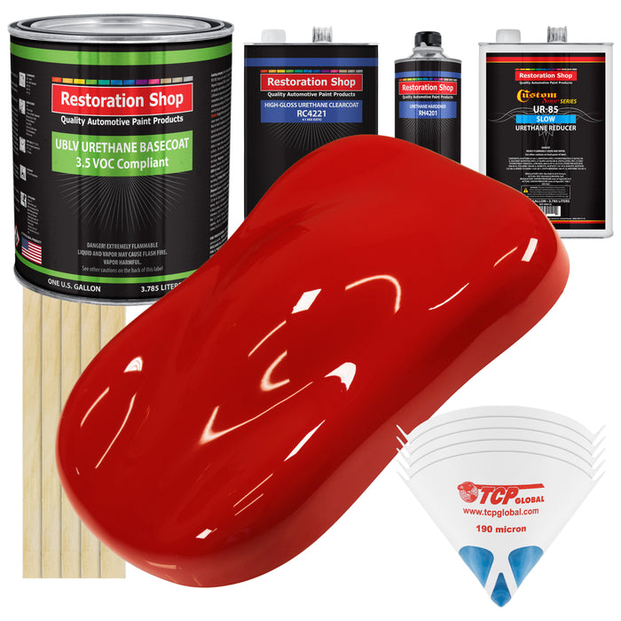 Pro Street Red - LOW VOC Urethane Basecoat with Clearcoat Auto Paint - Complete Slow Gallon Paint Kit - Professional High Gloss Automotive Coating