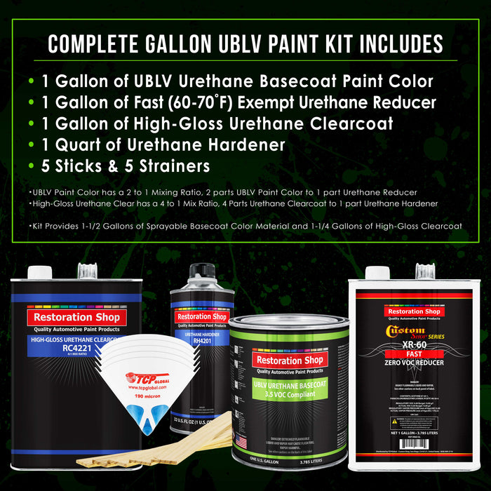 Quarter Mile Red - LOW VOC Urethane Basecoat with Clearcoat Auto Paint - Complete Fast Gallon Paint Kit - Professional High Gloss Automotive Coating