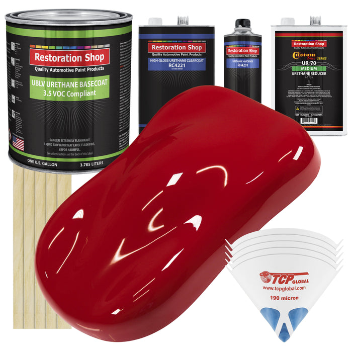Torch Red - LOW VOC Urethane Basecoat with Clearcoat Auto Paint - Complete Medium Gallon Paint Kit - Professional High Gloss Automotive Coating