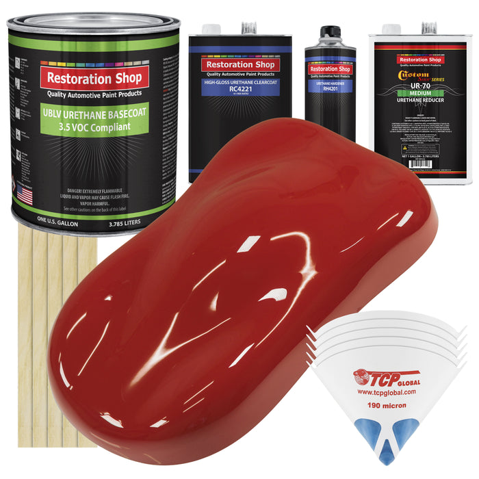 Jalapeno Bright Red - LOW VOC Urethane Basecoat with Clearcoat Auto Paint - Complete Medium Gallon Paint Kit - Professional High Gloss Automotive Coating