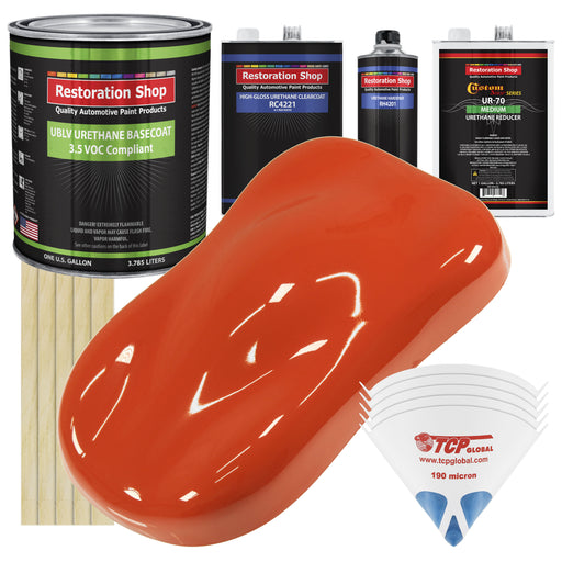Charger Orange - LOW VOC Urethane Basecoat with Clearcoat Auto Paint - Complete Medium Gallon Paint Kit - Professional High Gloss Automotive Coating