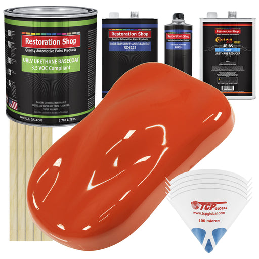 Charger Orange - LOW VOC Urethane Basecoat with Clearcoat Auto Paint - Complete Slow Gallon Paint Kit - Professional High Gloss Automotive Coating
