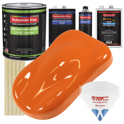 Omaha Orange - LOW VOC Urethane Basecoat with Clearcoat Auto Paint - Complete Slow Gallon Paint Kit - Professional High Gloss Automotive Coating
