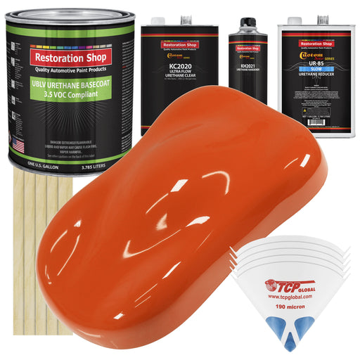 Hugger Orange - LOW VOC Urethane Basecoat with Premium Clearcoat Auto Paint - Complete Slow Gallon Paint Kit - Professional High Gloss Automotive Coating