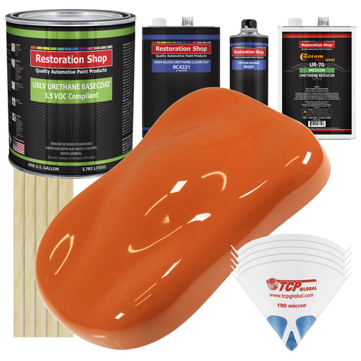 Sunset Orange - LOW VOC Urethane Basecoat with Clearcoat Auto Paint - Complete Medium Gallon Paint Kit - Professional High Gloss Automotive Coating