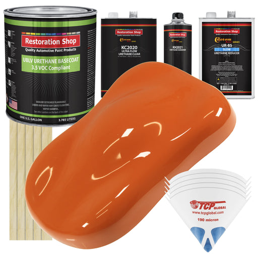 Sunset Orange - LOW VOC Urethane Basecoat with Premium Clearcoat Auto Paint - Complete Slow Gallon Paint Kit - Professional High Gloss Automotive Coating