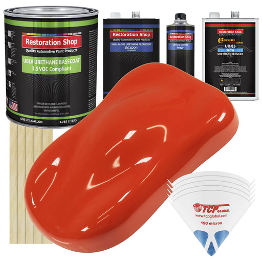 Hemi Orange - LOW VOC Urethane Basecoat with Clearcoat Auto Paint - Complete Slow Gallon Paint Kit - Professional High Gloss Automotive Coating
