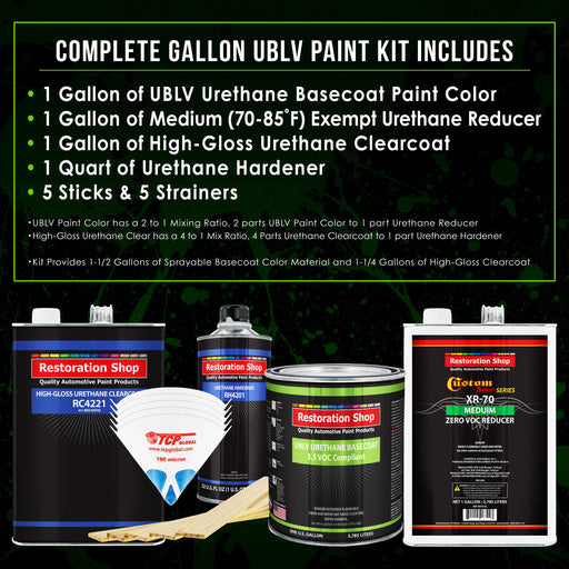 Jet Black (Gloss) - LOW VOC Urethane Basecoat with Clearcoat Auto Paint - Complete Medium Gallon Paint Kit - Professional High Gloss Automotive Coating