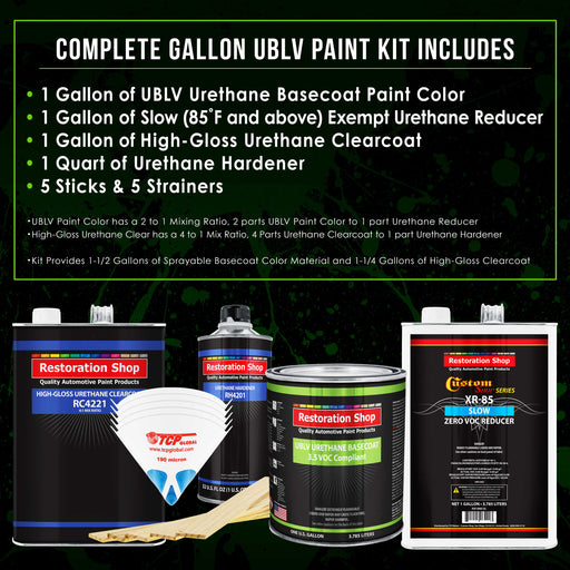 Jet Black (Gloss) - LOW VOC Urethane Basecoat with Clearcoat Auto Paint - Complete Slow Gallon Paint Kit - Professional High Gloss Automotive Coating
