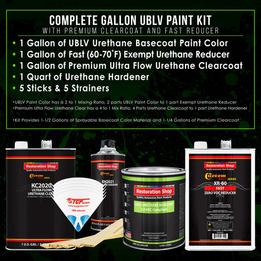 Boulevard Black - LOW VOC Urethane Basecoat with Premium Clearcoat Auto Paint - Complete Fast Gallon Paint Kit - Professional High Gloss Automotive Coating