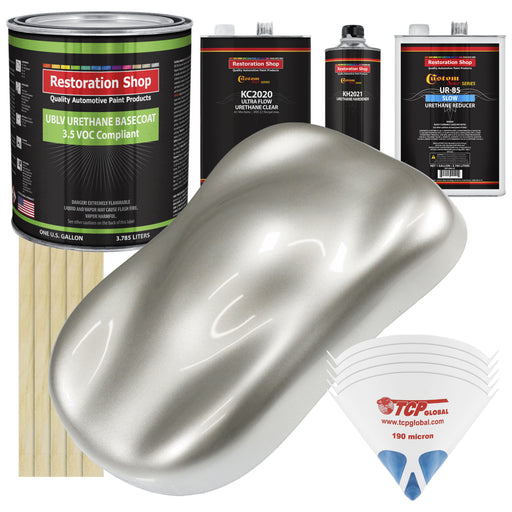 Sterling Silver Metallic - LOW VOC Urethane Basecoat with Premium Clearcoat Auto Paint - Complete Slow Gallon Paint Kit - Professional High Gloss Automotive Coating