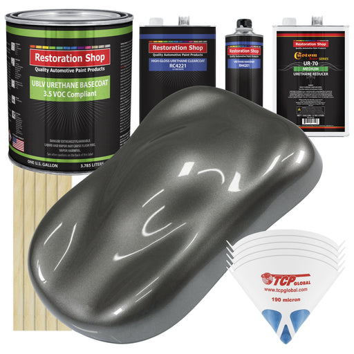 Dark Charcoal Metallic - LOW VOC Urethane Basecoat with Clearcoat Auto Paint - Complete Medium Gallon Paint Kit - Professional High Gloss Automotive Coating