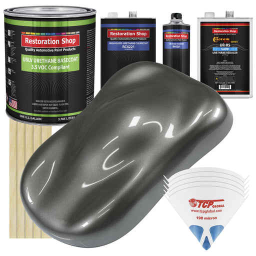 Dark Charcoal Metallic - LOW VOC Urethane Basecoat with Clearcoat Auto Paint - Complete Slow Gallon Paint Kit - Professional High Gloss Automotive Coating