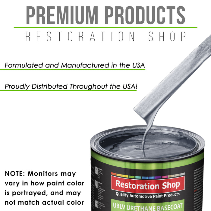 Cool Gray Metallic - LOW VOC Urethane Basecoat with Clearcoat Auto Paint - Complete Medium Quart Paint Kit - Professional High Gloss Automotive Coating