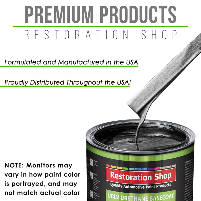 Black Metallic - LOW VOC Urethane Basecoat with Clearcoat Auto Paint - Complete Medium Quart Paint Kit - Professional High Gloss Automotive Coating
