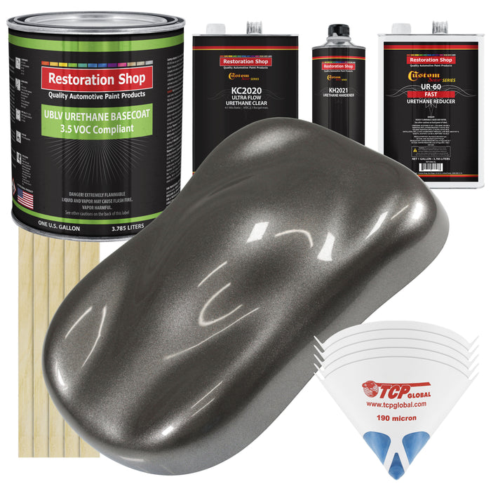 Tunnel Ram Gray Metallic - LOW VOC Urethane Basecoat with Premium Clearcoat Auto Paint - Complete Fast Gallon Paint Kit - Professional High Gloss Automotive Coating