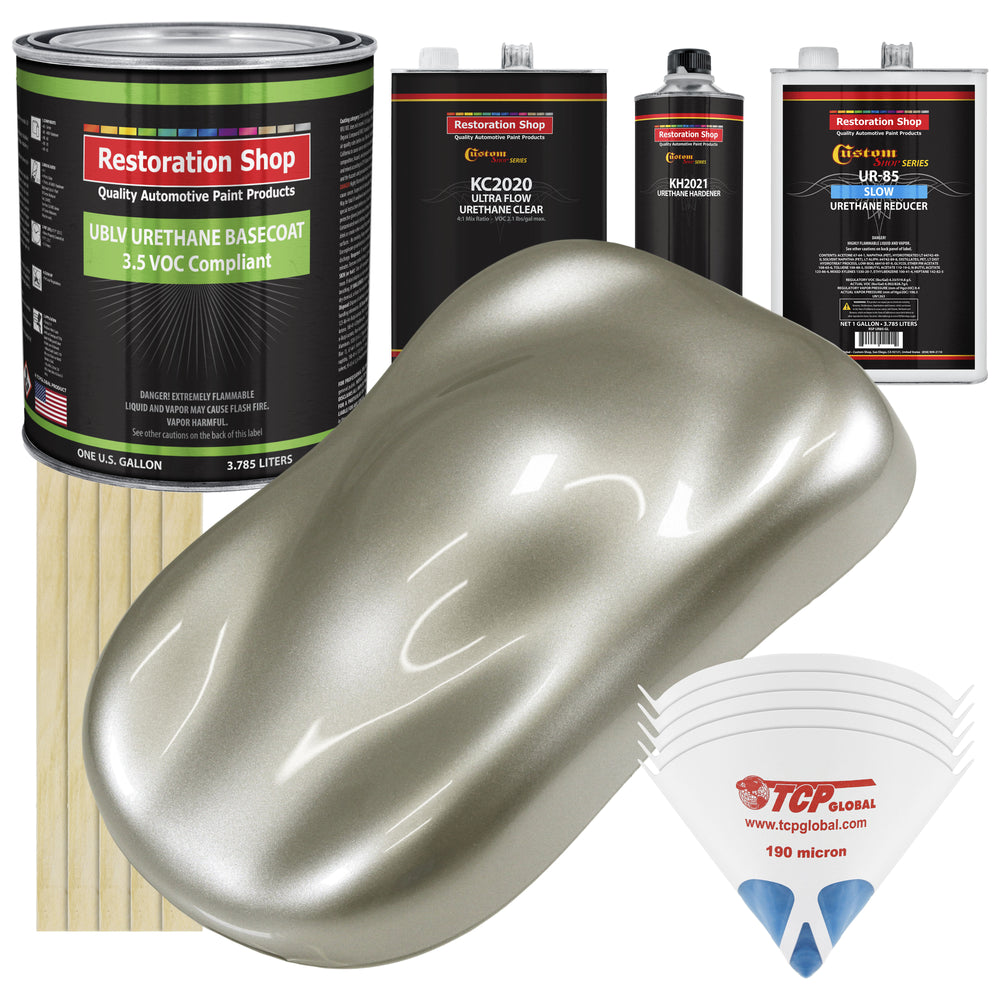 Galaxy Silver Metallic - LOW VOC Urethane Basecoat with Premium Clearcoat Auto Paint - Complete Slow Gallon Paint Kit - Professional High Gloss Automotive Coating