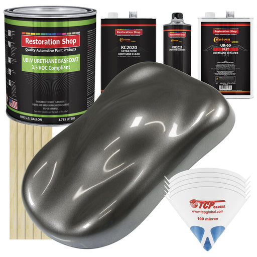 Chop Top Silver Metallic - LOW VOC Urethane Basecoat with Premium Clearcoat Auto Paint - Complete Fast Gallon Paint Kit - Professional High Gloss Automotive Coating