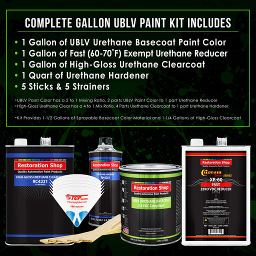 Chop Top Silver Metallic - LOW VOC Urethane Basecoat with Clearcoat Auto Paint - Complete Fast Gallon Paint Kit - Professional High Gloss Automotive Coating
