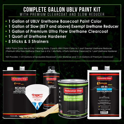Chop Top Silver Metallic - LOW VOC Urethane Basecoat with Premium Clearcoat Auto Paint - Complete Slow Gallon Paint Kit - Professional High Gloss Automotive Coating