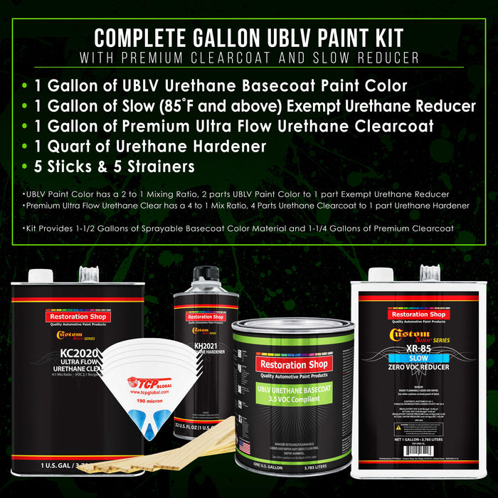 Cashmere Gold Metallic - LOW VOC Urethane Basecoat with Premium Clearcoat Auto Paint - Complete Slow Gallon Paint Kit - Professional High Gloss Automotive Coating