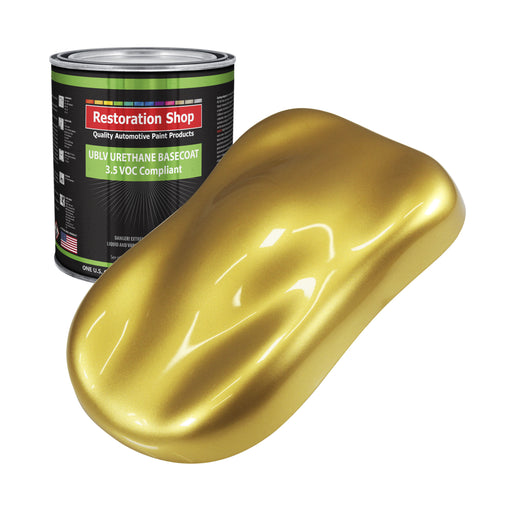 Anniversary Gold Metallic - LOW VOC Urethane Basecoat Auto Paint - Gallon Paint Color Only - Professional High Gloss Automotive, Car, Truck Refinish Coating
