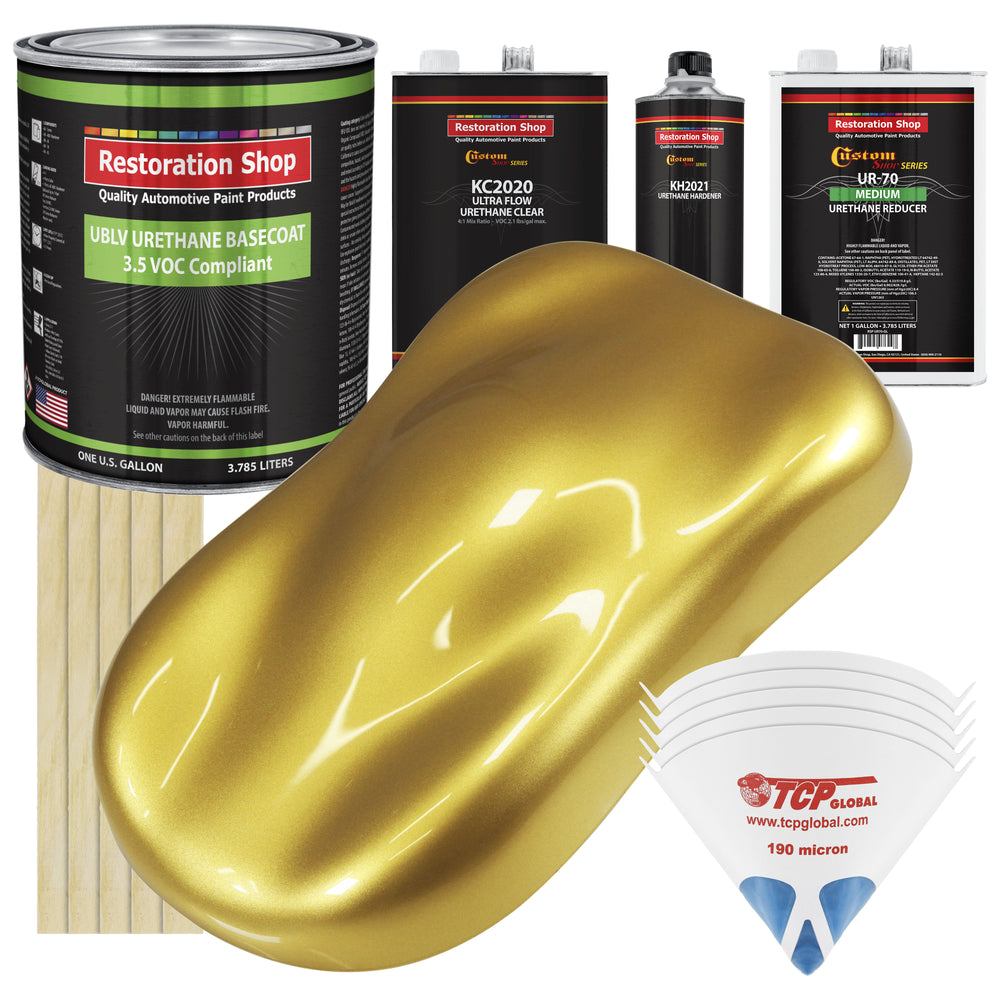 Anniversary Gold Metallic - LOW VOC Urethane Basecoat with Premium Clearcoat Auto Paint - Complete Medium Gallon Paint Kit - Professional High Gloss Automotive Coating