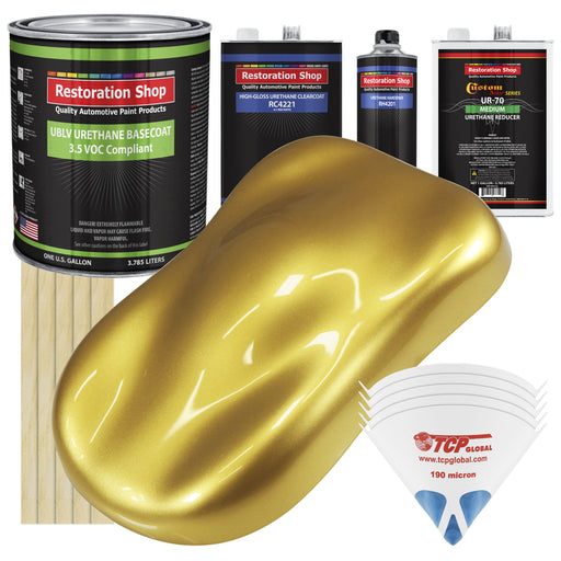 Anniversary Gold Metallic - LOW VOC Urethane Basecoat with Clearcoat Auto Paint - Complete Medium Gallon Paint Kit - Professional High Gloss Automotive Coating