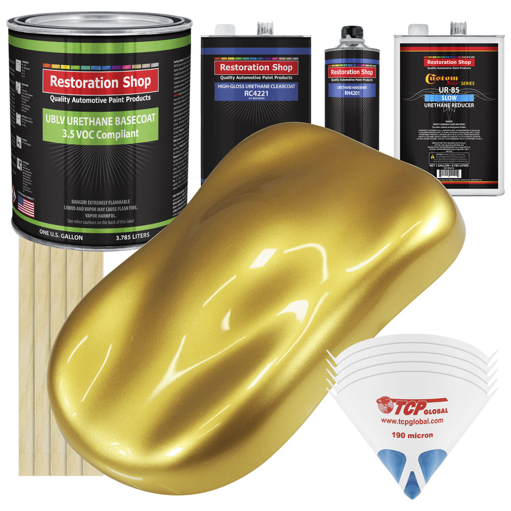 Anniversary Gold Metallic - LOW VOC Urethane Basecoat with Clearcoat Auto Paint - Complete Slow Gallon Paint Kit - Professional High Gloss Automotive Coating