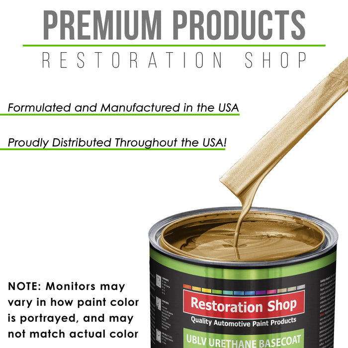 Autumn Gold Metallic - LOW VOC Urethane Basecoat with Premium Clearcoat Auto Paint - Complete Slow Gallon Paint Kit - Professional High Gloss Automotive Coating