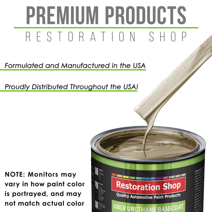 Driftwood Beige Metallic - LOW VOC Urethane Basecoat Auto Paint - Quart Paint Color Only - Professional High Gloss Automotive Coating