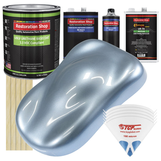 Glacier Blue Metallic - LOW VOC Urethane Basecoat with Clearcoat Auto Paint - Complete Medium Gallon Paint Kit - Professional High Gloss Automotive Coating