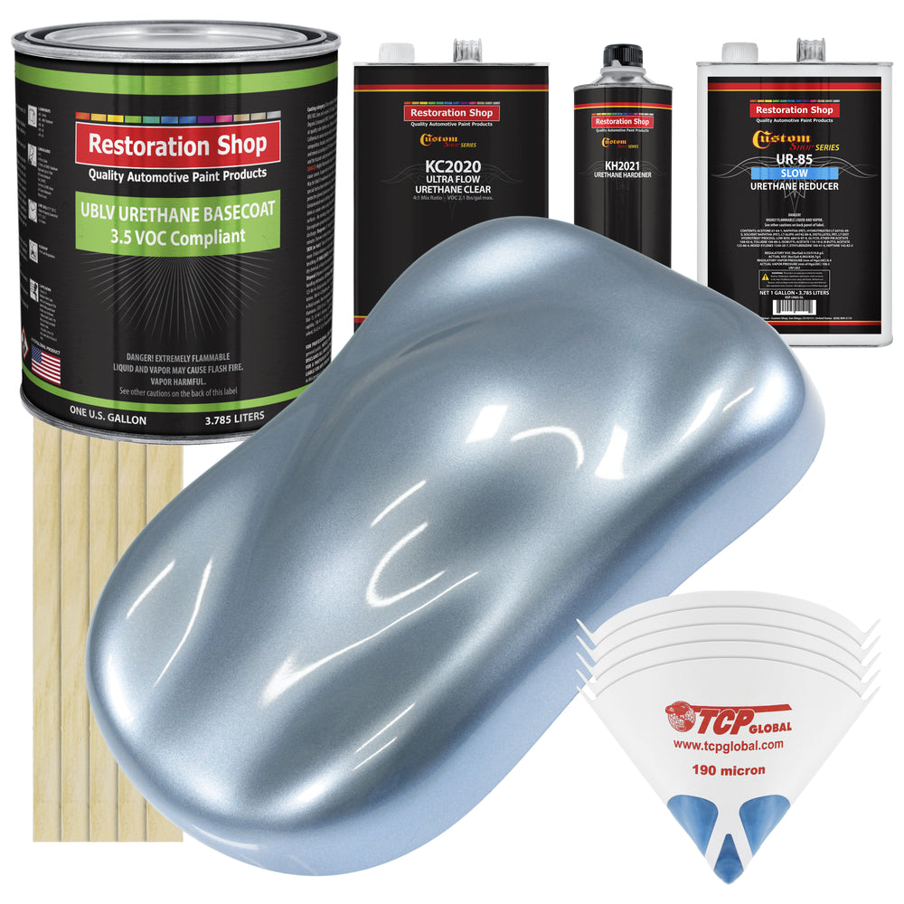 Glacier Blue Metallic - LOW VOC Urethane Basecoat with Premium Clearcoat Auto Paint - Complete Slow Gallon Paint Kit - Professional High Gloss Automotive Coating