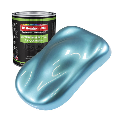 Azure Blue Metallic - LOW VOC Urethane Basecoat Auto Paint - Gallon Paint Color Only - Professional High Gloss Automotive, Car, Truck Refinish Coating