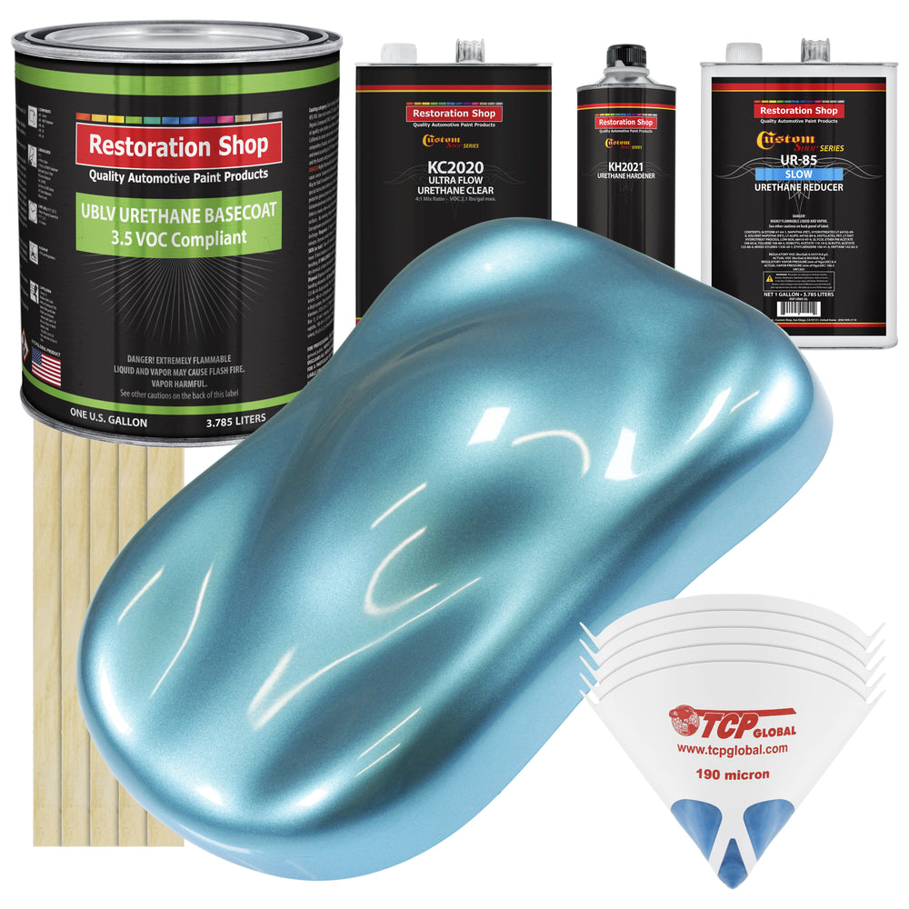 Azure Blue Metallic - LOW VOC Urethane Basecoat with Premium Clearcoat Auto Paint - Complete Slow Gallon Paint Kit - Professional High Gloss Automotive Coating