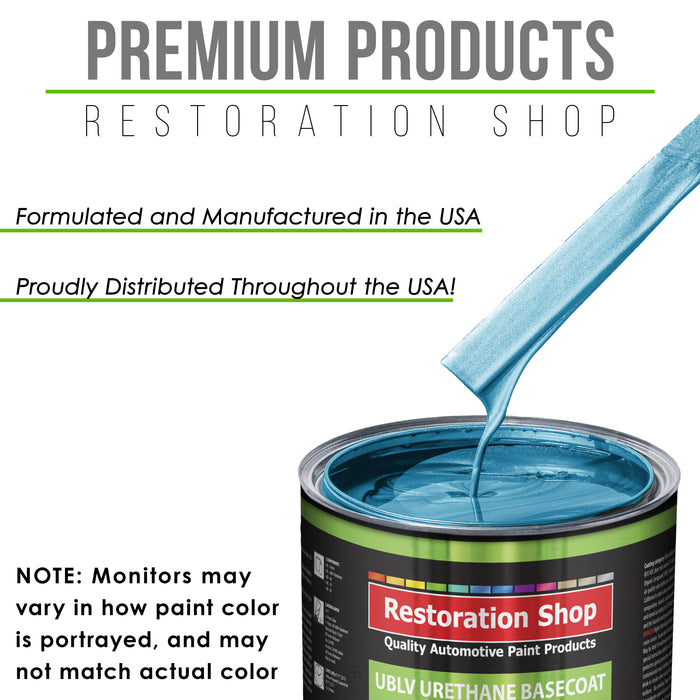 Electric Blue Metallic - LOW VOC Urethane Basecoat with Premium Clearcoat Auto Paint - Complete Medium Gallon Paint Kit - Professional High Gloss Automotive Coating
