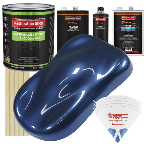 Sapphire Blue Metallic - LOW VOC Urethane Basecoat with Premium Clearcoat Auto Paint - Complete Slow Gallon Paint Kit - Professional High Gloss Automotive Coating