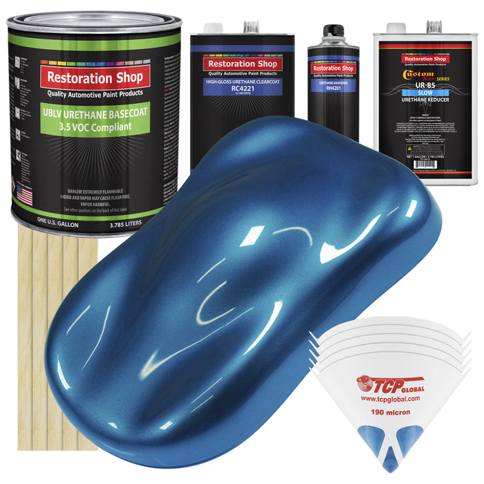 Cruise Night Blue Metallic - LOW VOC Urethane Basecoat with Clearcoat Auto Paint - Complete Slow Gallon Paint Kit - Professional High Gloss Automotive Coating