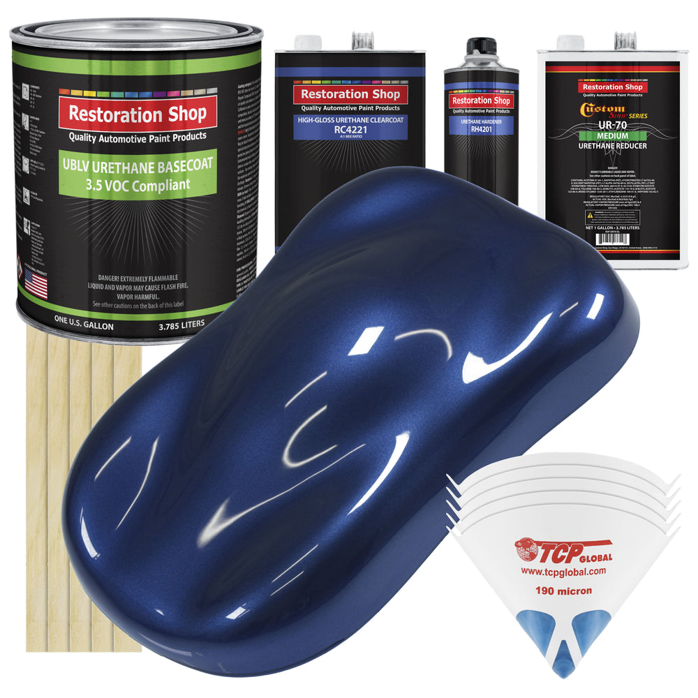 Daytona Blue Metallic - LOW VOC Urethane Basecoat with Clearcoat Auto Paint - Complete Medium Gallon Paint Kit - Professional High Gloss Automotive Coating