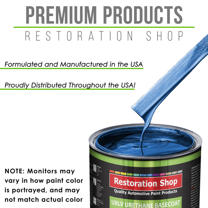 Burn Out Blue Metallic - LOW VOC Urethane Basecoat with Premium Clearcoat Auto Paint - Complete Fast Gallon Paint Kit - Professional High Gloss Automotive Coating