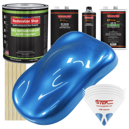 Fiji Blue Metallic - LOW VOC Urethane Basecoat with Premium Clearcoat Auto Paint - Complete Medium Gallon Paint Kit - Professional High Gloss Automotive Coating