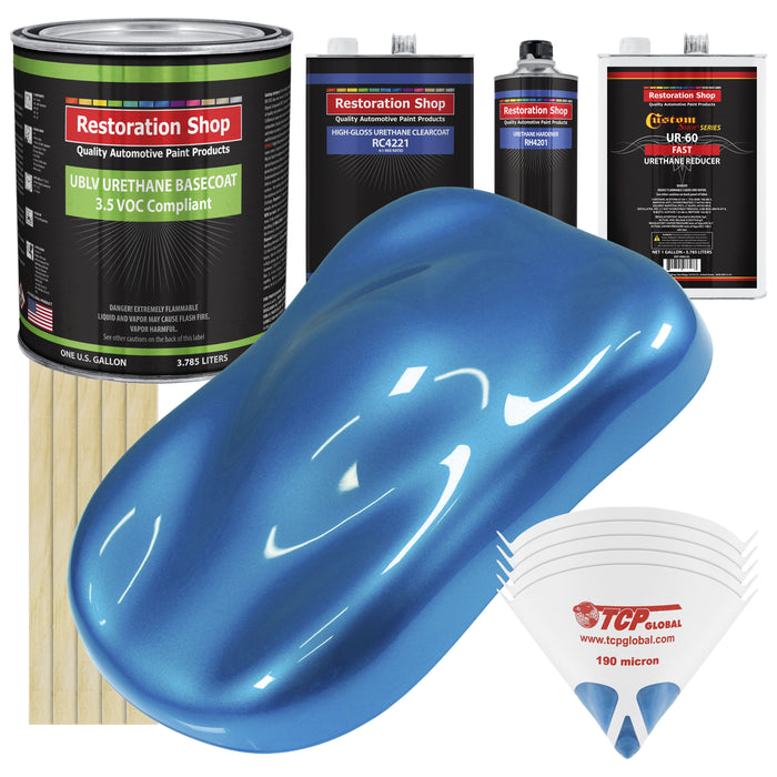 Intense Blue Metallic - LOW VOC Urethane Basecoat with Clearcoat Auto Paint - Complete Fast Gallon Paint Kit - Professional High Gloss Automotive Coating