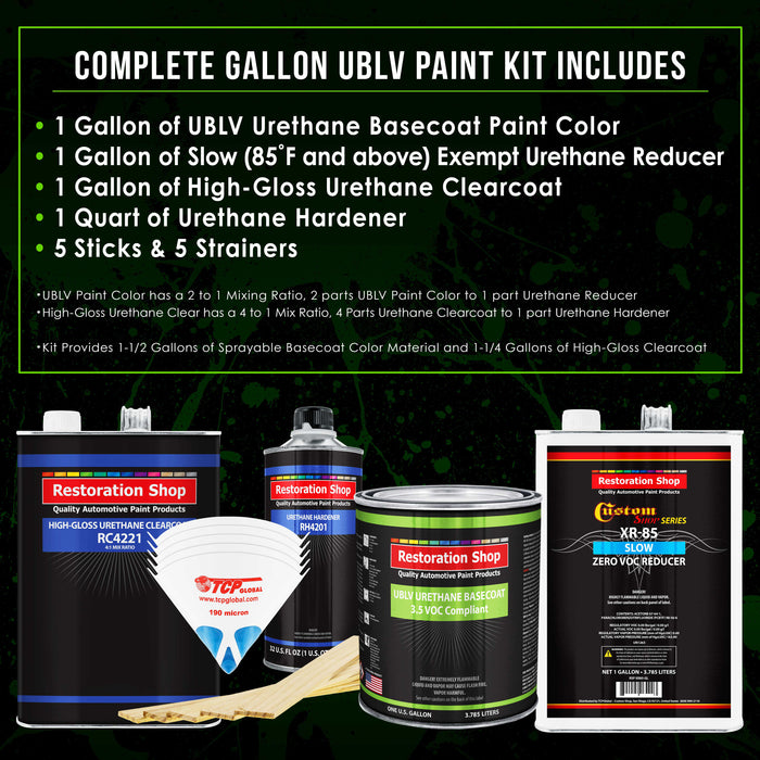 Frost Green Metallic - LOW VOC Urethane Basecoat with Clearcoat Auto Paint - Complete Slow Gallon Paint Kit - Professional High Gloss Automotive Coating