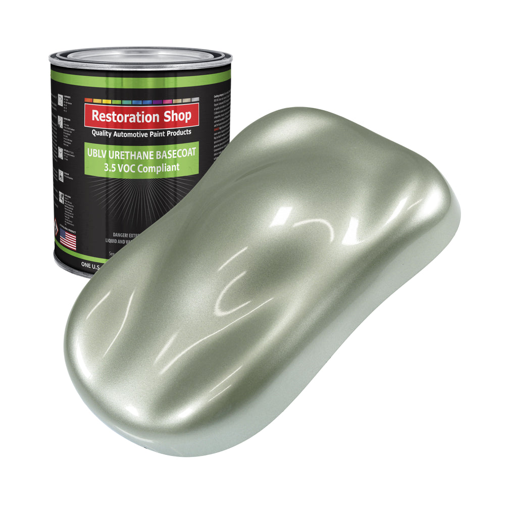 Sage Green Metallic - LOW VOC Urethane Basecoat Auto Paint - Gallon Paint Color Only - Professional High Gloss Automotive, Car, Truck Refinish Coating
