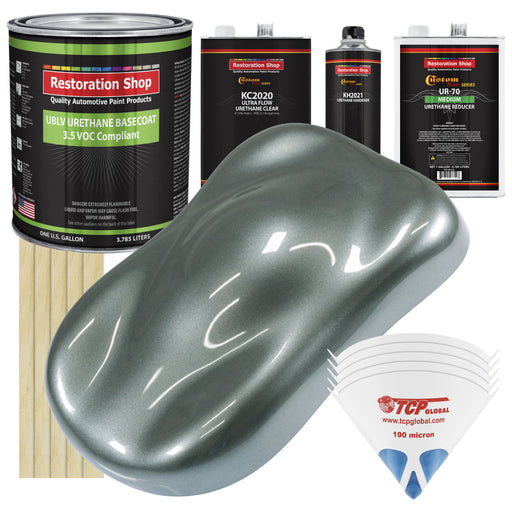 Steel Gray Metallic - LOW VOC Urethane Basecoat with Premium Clearcoat Auto Paint - Complete Medium Gallon Paint Kit - Professional High Gloss Automotive Coating
