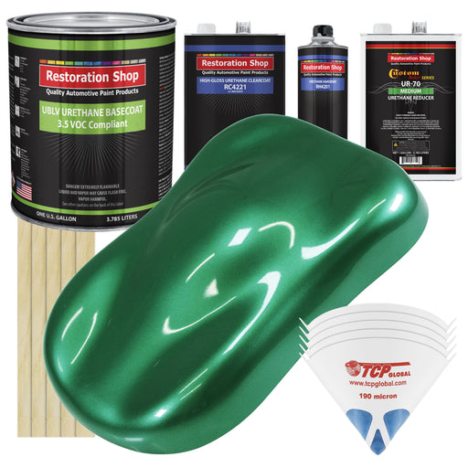 Rally Green Metallic - LOW VOC Urethane Basecoat with Clearcoat Auto Paint - Complete Medium Gallon Paint Kit - Professional High Gloss Automotive Coating