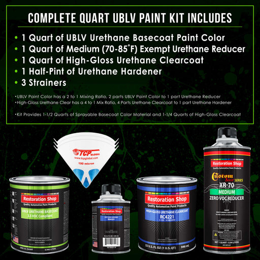 Teal Green Metallic - LOW VOC Urethane Basecoat with Clearcoat Auto Paint - Complete Medium Quart Paint Kit - Professional High Gloss Automotive Coating